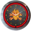 "Neonetics 15"" Mechanic Fire Skull And Wrenches Neon Clock"