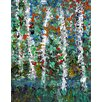 Green Leaf Art Trees on Lake 2 Painting Print on Wrapped Canvas