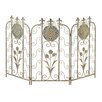 CBK Flower Fleur de Lis 3 Panel Metal Fireplace Screen