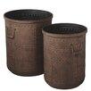 CBK 2 Piece Rusted Studded Pot Planter Set