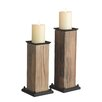 CBK 2 Piece Wood Candlestick Set (Set of 2)