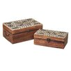 CBK 2 Piece Manarola Hand Carved Leaf Box Set