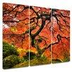 Art Wall 'Japanese Maple Tree' by John Black 3 Piece Painting Print on Canvas Set