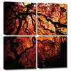 Art Wall 'Fire Breather: Japanese Tree' by John Black 4 Piece Photographic Print Gallery-Wrapped on Canvas Set