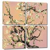 Art Wall 'Eggshell Almond Blossom' by Vincent Van Gogh 4 Piece Gallery-Wrapped Canvas Art Set