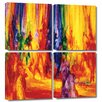 Art Wall 'Dance 1, 2000' by Bayo Iribhogbe 4 Piece Painting Print Gallery-Wrapped on Canvas Set