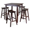 Winsome Parkland 5 Piece Dining Table with 4 Saddle Seat Stools