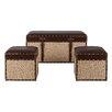 Bombay Heritage Brooksby 3 Piece Leather Storage Ottoman Set