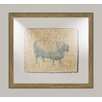 Melissa Van Hise Sheep on Linen I Framed Art in Navy
