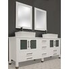 "Cambridge Plumbing White Emerald 65"" Double Bathroom Vanity Set"