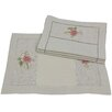 Xia Home Fashions Handmade Ribbon Embroidery Flower with Hemstitch Placemat (Set of 4)