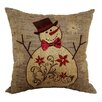 Xia Home Fashions Snowman Embroidered Pillow with Polyester Fill