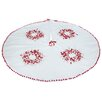 Xia Home Fashions Holiday Berry Ribbon Wreath and Pom Pom Embroidered Double Layer Round Tree Skirt