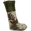 Xia Home Fashions Reindeer with Applique Suede Stocking