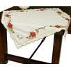 Xia Home Fashions Scrolling Poinsettia Embroidered Cutwork Table Topper