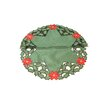 Xia Home Fashions Holly Leaf Poinsettia Embroidered Cutwork Round Holiday Doily (Set of 4)