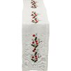 Xia Home Fashions Holly Berry Embroidered Hemstitch Holiday Table Runner