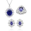 <strong>Sterling Essentials</strong> Sterling Silver Oval Cut Cubic Zirconia Necklace, Earring and Ring Set
