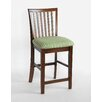 "Hudson 24"" Barstool with Bromley Green Stripe Fabric Seat in Chestnut"