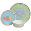 Island Way Melamine Mosaic Fish 3 Piece Place Setting