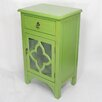 Heather Ann Creations Wooden Cabinet with 1 Drawer and 1 Door with Glass Insert