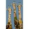 GreenBox Art Three Giraffes by Eli Halpin Painting Print on Canvas in Blue