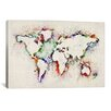 "<strong>iCanvasArt</strong> ""Map of the World Paint Splashes"" Canvas Print Wall Art by Michael Thompsett"