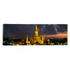<strong>iCanvasArt</strong> Panoramic Buddhist Temple Lit up at Dawn Bangkok, Thailand Photographic Print on Canvas