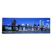 <strong>iCanvasArt</strong> Panoramic Brooklyn Bridge Skyline Photographic Print on Canvas
