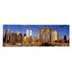 <strong>iCanvasArt</strong> Panoramic Brooklyn Bridge Manhattan New York Photographic Print on Canvas