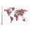 iCanvasArt 'Butterflies World Map' by Michael Tompsett Painting Print on Canvas