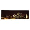 <strong>iCanvasArt</strong> Panoramic Buildings Lit Up at Night in a City, Pittsburgh Pennsylvania, Photographic Print on Canvas
