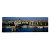<strong>iCanvasArt</strong> Panoramic Buildings at the Waterfront, Chain Bridge, Danube River, Budapest, Hungary Photographic Print on Canvas