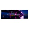 iCanvas Panoramic Bridge Lit up across a Bay Macarthur Causeway, Miami, Florida Photographic Print on Canvas