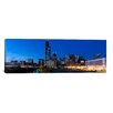 iCanvasArt Panoramic Buildings in a City Lit Up at Dusk, Chicago, Illinois Photographic Print on Canvas