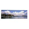 iCanvasArt Panoramic Boats Docked in a Bay, Cabbage Key, Sunshine Skyway Bridge in Distance, Tampa Bay, Florida Photographic Print on Canvas