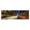 <strong>iCanvasArt</strong> Panoramic Blurred Motion, Cars, Michigan Avenue, Christmas Lights, Chicago, Illinois Photographic Print on Canvas