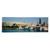 iCanvasArt Panoramic Boats Moored at a Dock, Chicago, Illinois Photographic Print on Canvas
