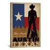 iCanvasArt 'Austin, Texas' by Anderson Design Group Vintage Advertisement on Canvas