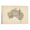 iCanvas 'Australia Sheet Music Map' by Michael Tompsett Painting Print on Canvas