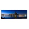 iCanvasArt Panoramic Buildings in a City Lit Up at Dusk, Detroit River, Detroit, Michigan Photographic Print on Canvas