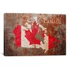 iCanvas 'Canada Flag Map' by Michael Tompsett Painting Print on Canvas