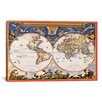 iCanvas Antique World Map - Nova Et Accuratissima Totius Terrarum Orbis Tabula (Blaeu, Joan 1664) Graphic Art on Canvas