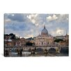 <strong>iCanvasArt</strong> Panoramic Arch Bridge across Tiber River with St. Peter's Basilica in the Background, Rome, Lazio, Italy Photographic Print on Canvas