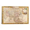 iCanvasArt Antique Map of Asia Graphic Art on Canvas