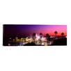 iCanvas Panoramic Amusement Park Lit up at Night, Santa Monica Beach, Santa Monica, Los Angeles County, California Photographic Print on Canvas