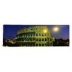 iCanvas Panoramic Ancient Building Lit up at Night, Coliseum, Rome, Italy Photographic Print on Canvas
