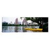 <strong>iCanvasArt</strong> Panoramic Yellow Kayak in a reservoir, Lady Bird Lake, Colorado River, Austin, Texas Photographic Print on Canvas