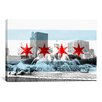 iCanvasArt Chicago Flag, Buckingham Fountain Graphic Art on Canvas