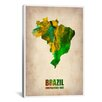iCanvas Naxart 'Brazil Watercolor Map' Graphic Art on Canvas